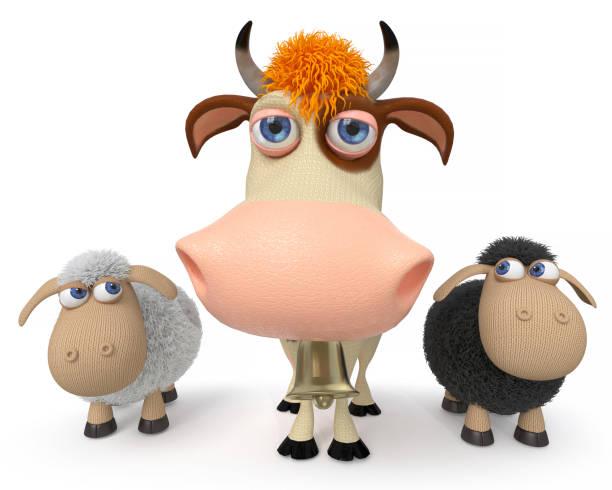 3 d イラストレーションの羊と牛 ベクターアートイラスト