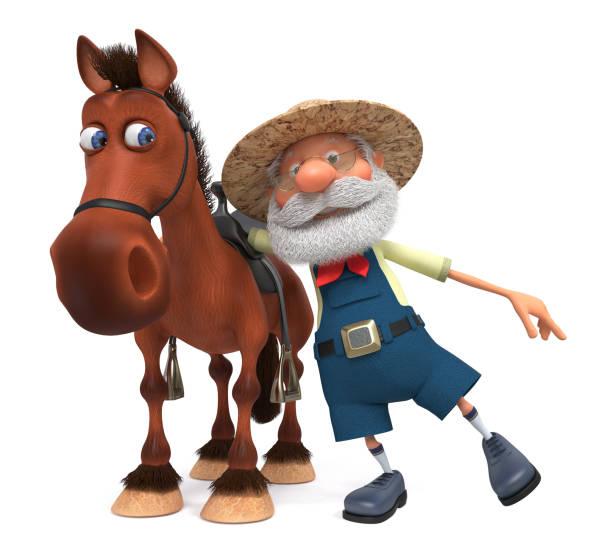 3 d イラスト馬に乗る高齢者農家 ベクターアートイラスト
