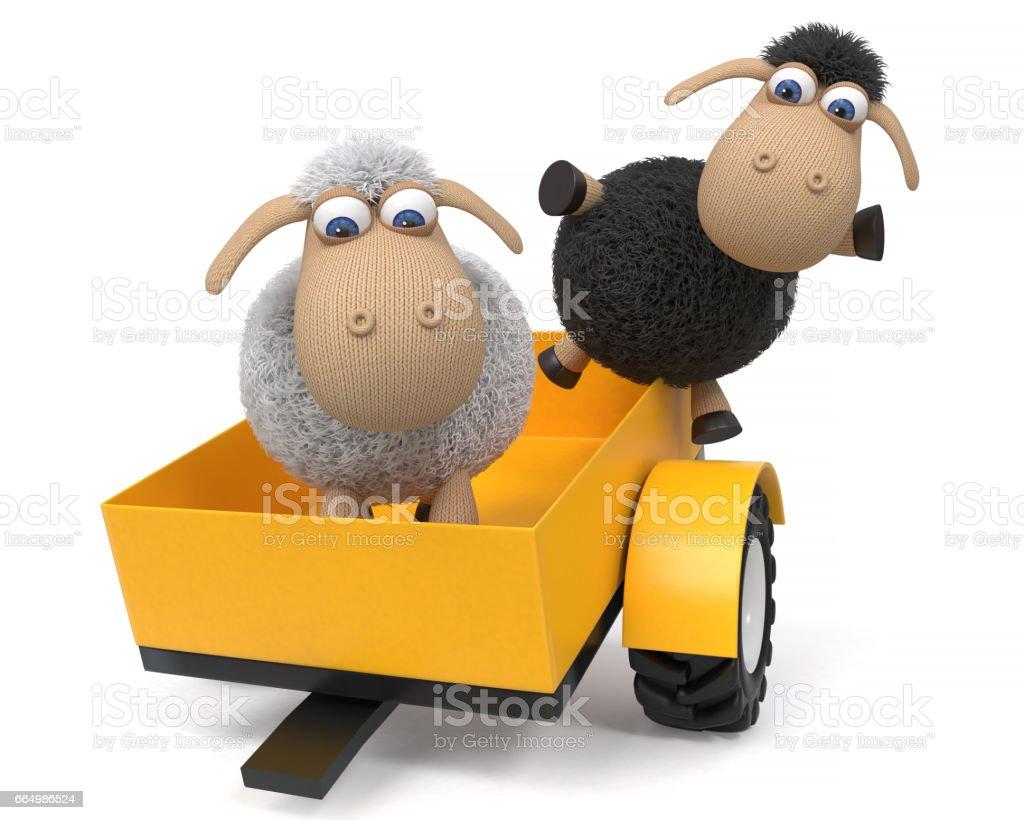 3 d イラストレーションはトラクターを羊します。 ベクターアートイラスト