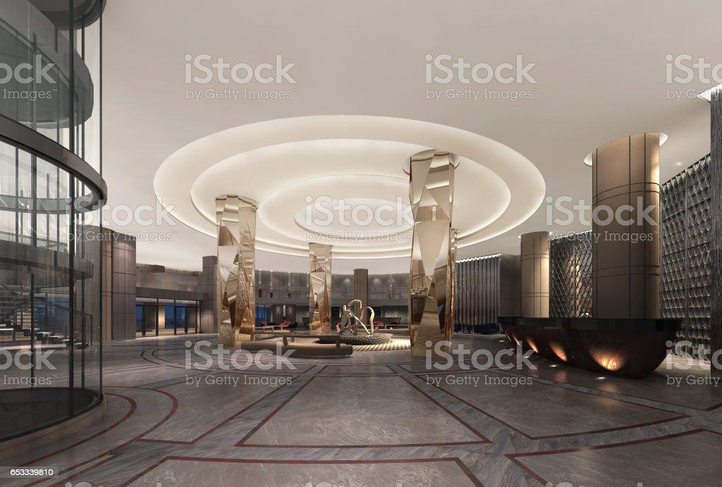 3d illustration of a deluxe hotel lobby modern style vector art illustration