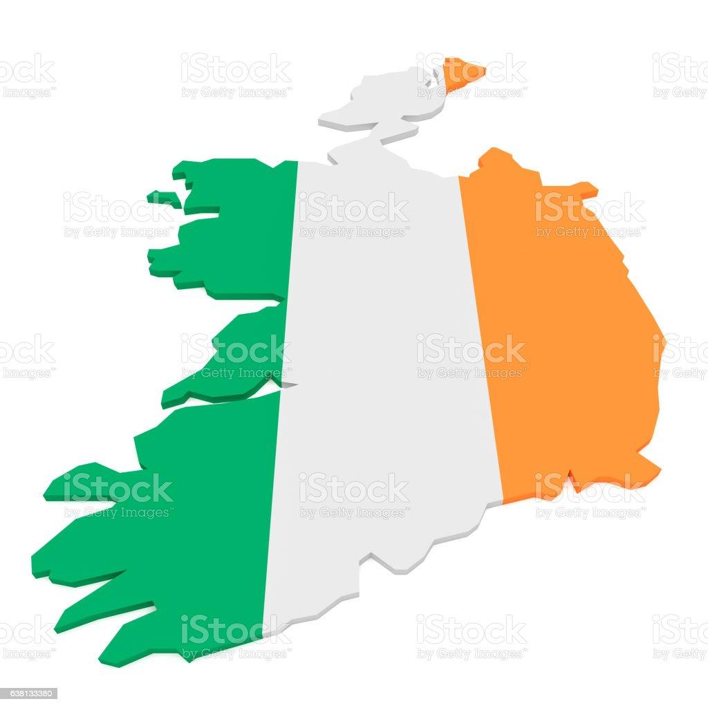 3d illustration of ireland flag map isolated on white background
