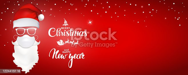 istock 3d illustration Santa Claus face with medical mask - hat - glasses - beard and mustache. Merry Christmas and Happy New Year greeting. Holiday icons. Red banner. Copy space 1224415116