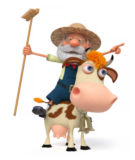 3 d イラストレーション牛と農夫 ベクターアートイラスト