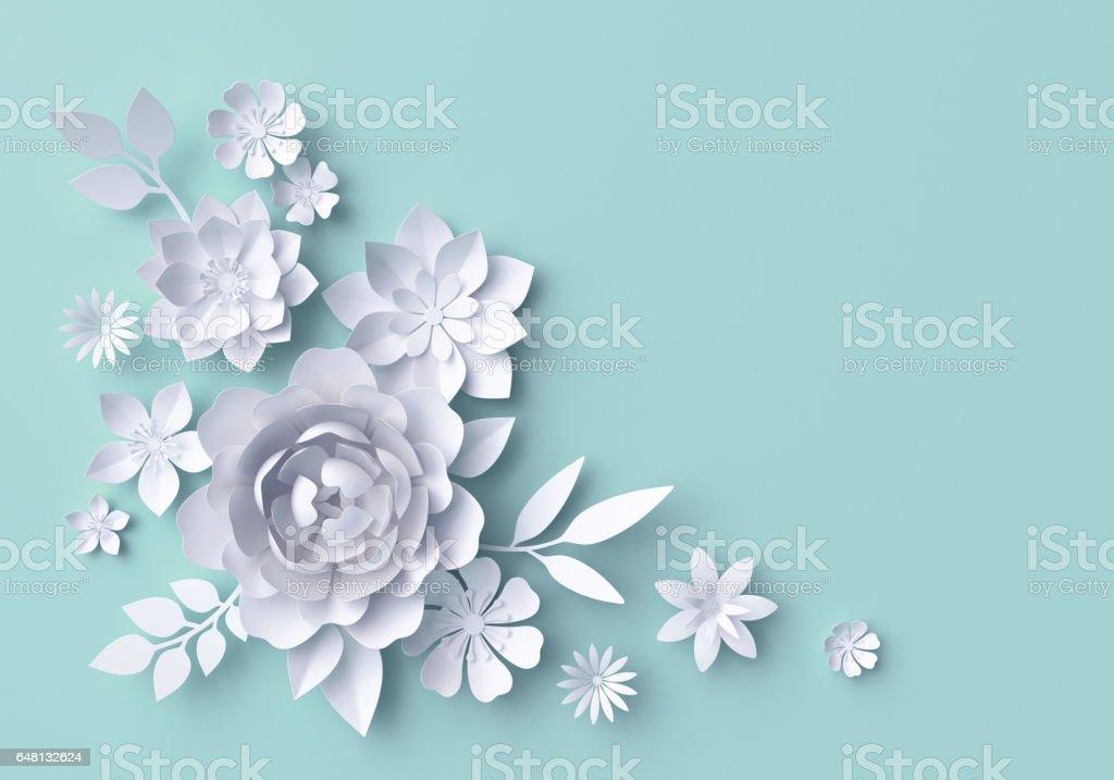 3d illustration, white paper flowers, pastel decorative floral background, turquoise vector art illustration