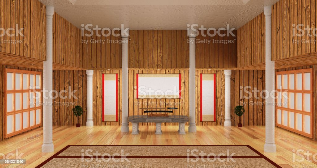 3d interior room of samurai style include japanese katana sword. royalty-free 3d interior room of samurai style include japanese katana sword stock vector art & more images of arts culture and entertainment