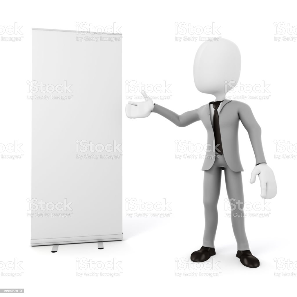 roll-up do 3D homem e em branco sobre fundo branco - ilustração de arte em vetor