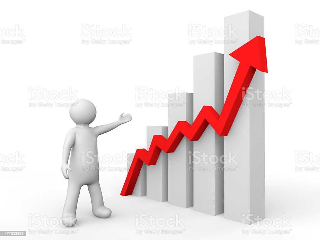 3d man showing profit graph vektör sanat illüstrasyonu