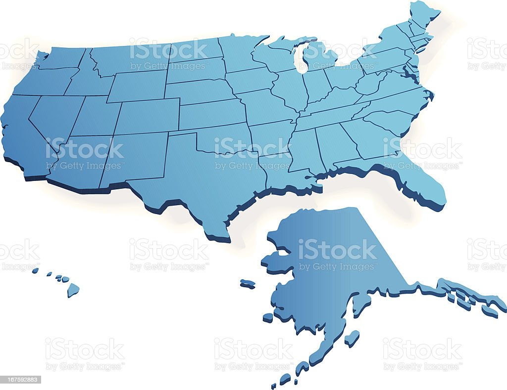 3d Map Of Us.3d Map Of Usa Stock Vector Art More Images Of Alaska Us State