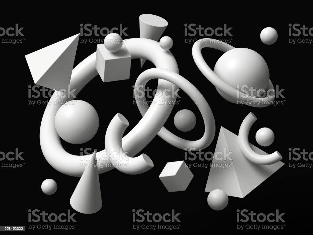 3d render, abstract background, falling geometric primitive shapes, white elements isolated on black background vector art illustration