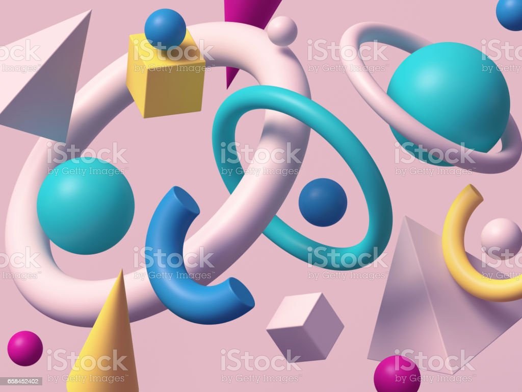 3d render, abstract background, falling geometric primitive shapes, colorful elements on white background vector art illustration