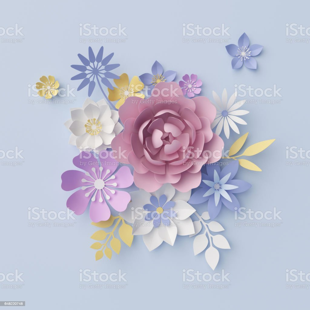 3d render, digital illustration, blue floral background, pastel paper flowers, holiday wall decor, decorative ornament, bridal bouquet, greeting card vector art illustration