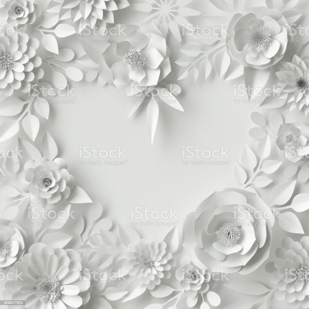 3d render digital illustration white paper flowers floral background 3d render digital illustration white paper flowers floral background bridal bouquet wedding card quilling valentines day greeting card template blank banner kristyandbryce Gallery