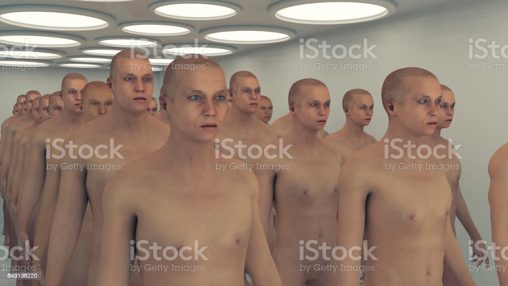 3d render. Human Clone Manufacturing and Futuristic Room vector art illustration