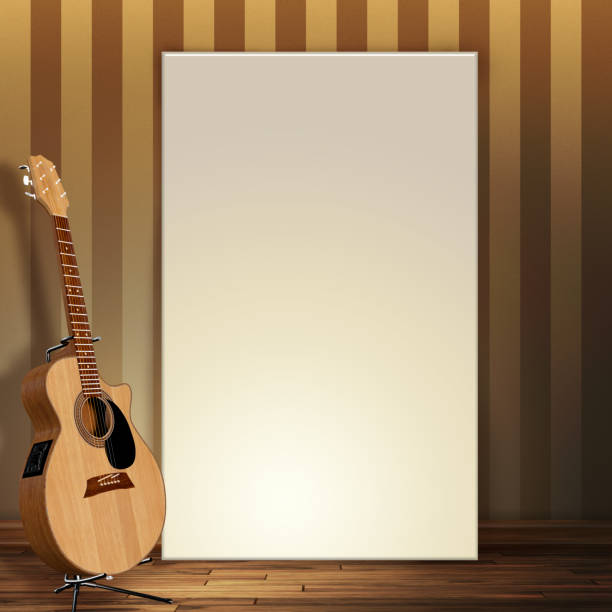3d render of a blank canvas leaning on wall with a guitar vector art illustration