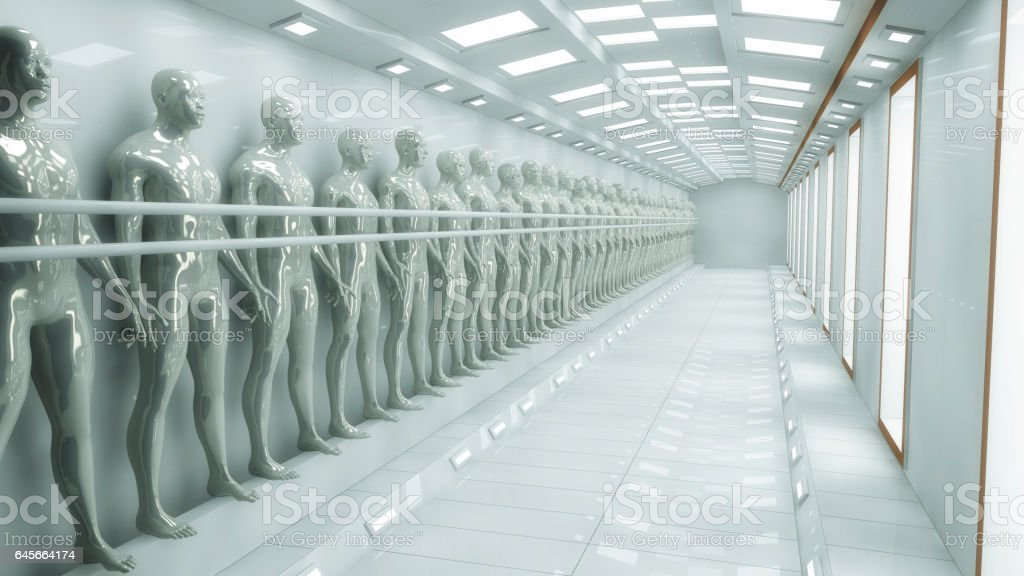 3d rendering. Human Clone Manufacturing and Futuristic Room vector art illustration