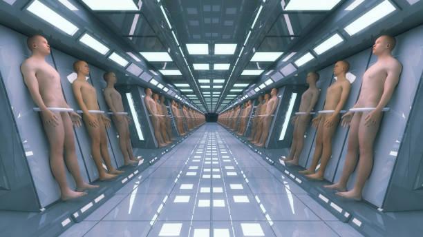 3d rendering. Human clones and futuristic interior architecture vector art illustration