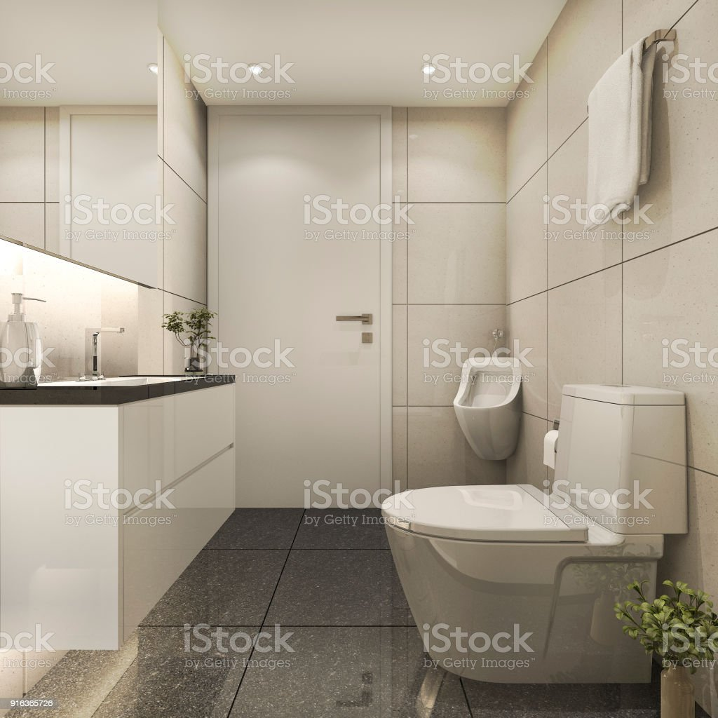 3d Rendering Modern Loft Bathroom With Luxury Tile Decor stock ...