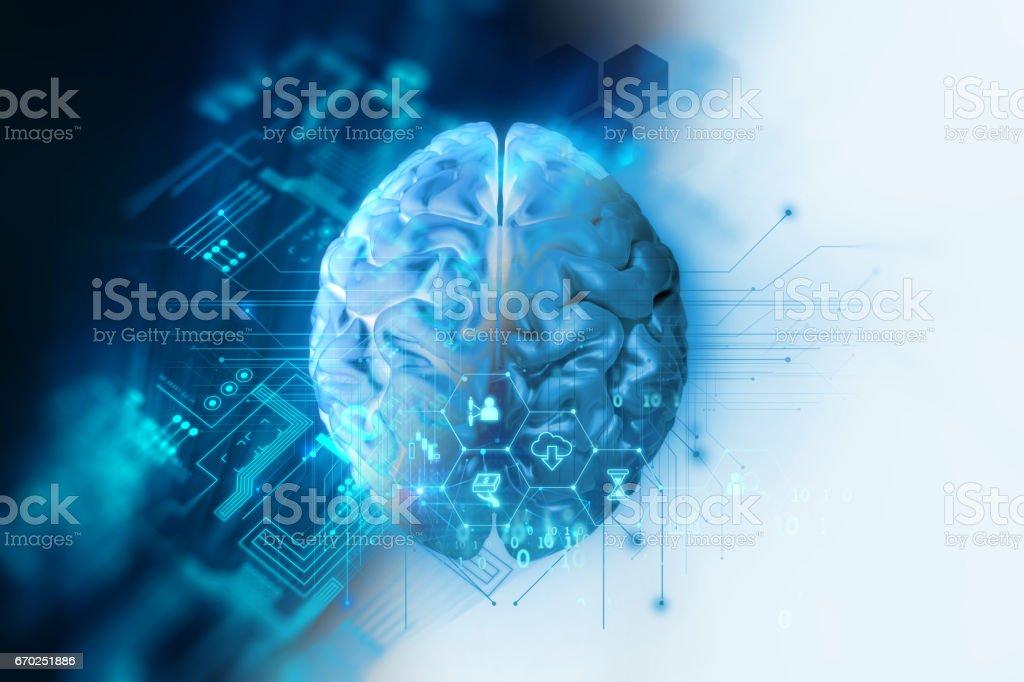 3d rendering of human  brain on technology background vector art illustration