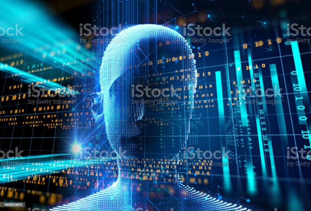 3d rendering of human  on geometric element technology background - Illustrazione stock royalty-free di Adulto