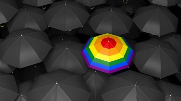 ilustrações, clipart, desenhos animados e ícones de guarda-chuva de renderização 3d com cores do arco-íris em fundo preto guarda-chuvas - lgbt
