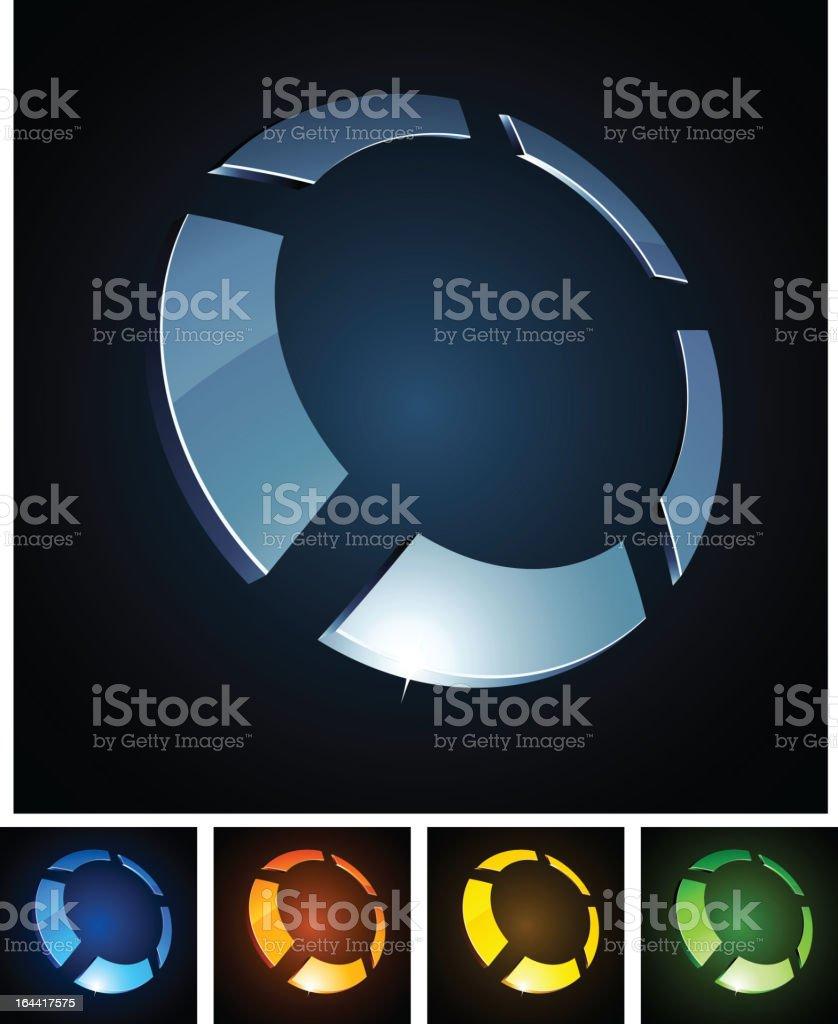 3d round sign. vector art illustration
