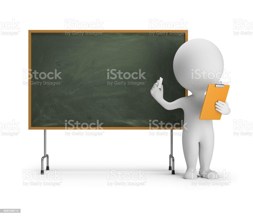 3d small people - blackboard vektör sanat illüstrasyonu