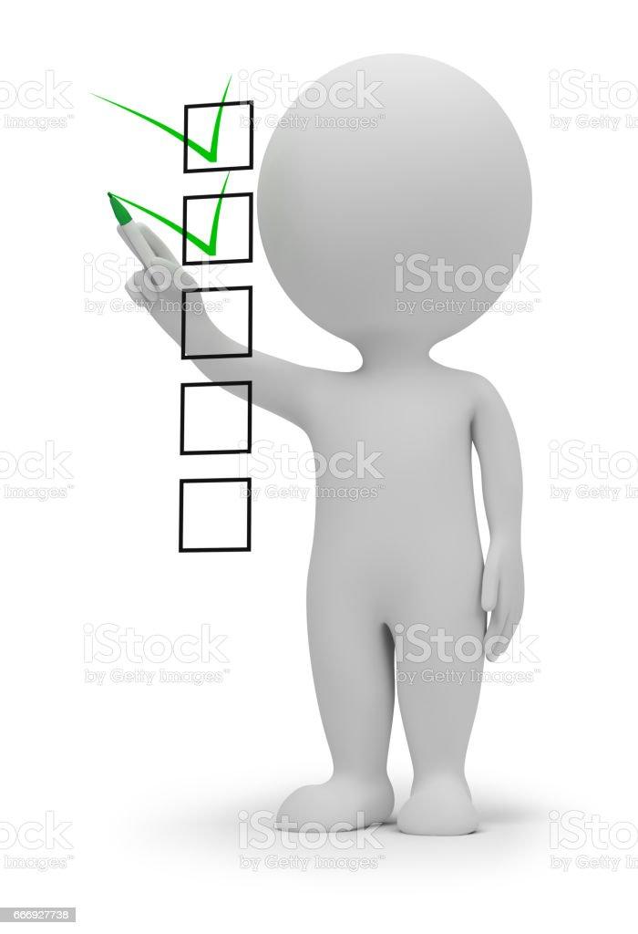 3 d pessoas pequenas lista de verificação - ilustração de arte em vetor