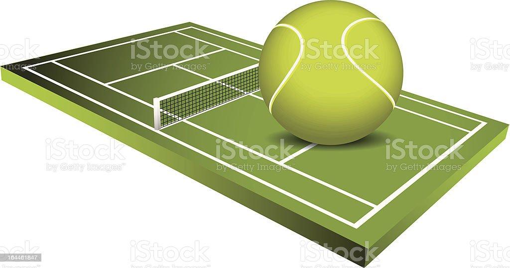 3d Tennis field - vector vector art illustration