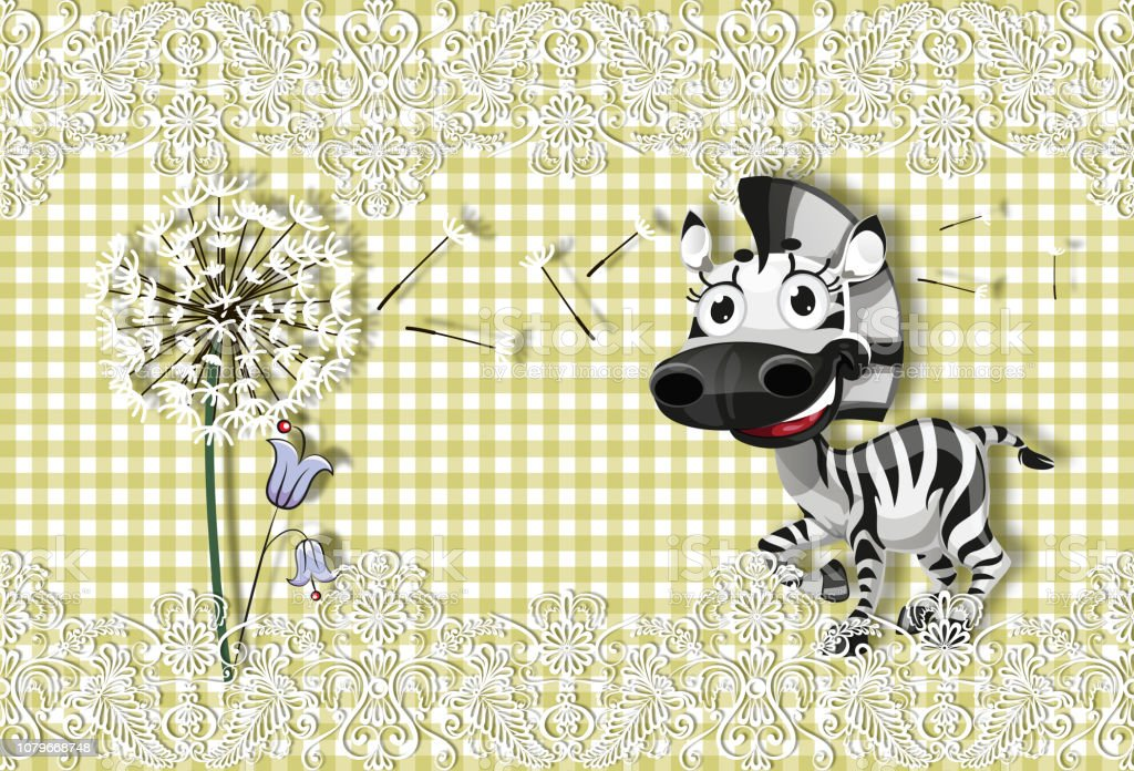3d wallpaper cute baby background plaid fabric with little zebra illustration id1079668748