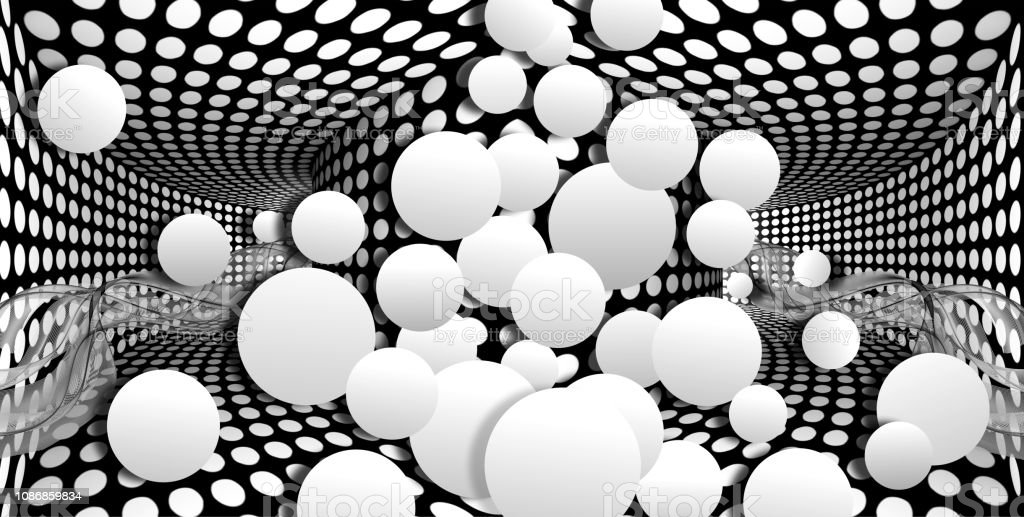 3d wallpaper white sphere on optical illusions background illustration id1086859834