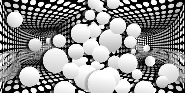 3d wallpaper white sphere on optical illusions background illustration