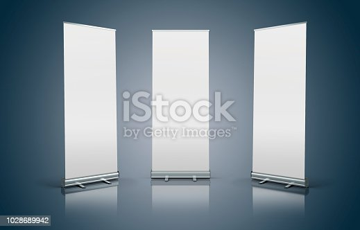 istock 3d white blank roll-up banners 1028689942