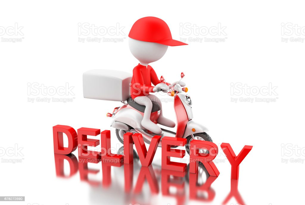 3d White people delivering boxes with motorbike. vector art illustration