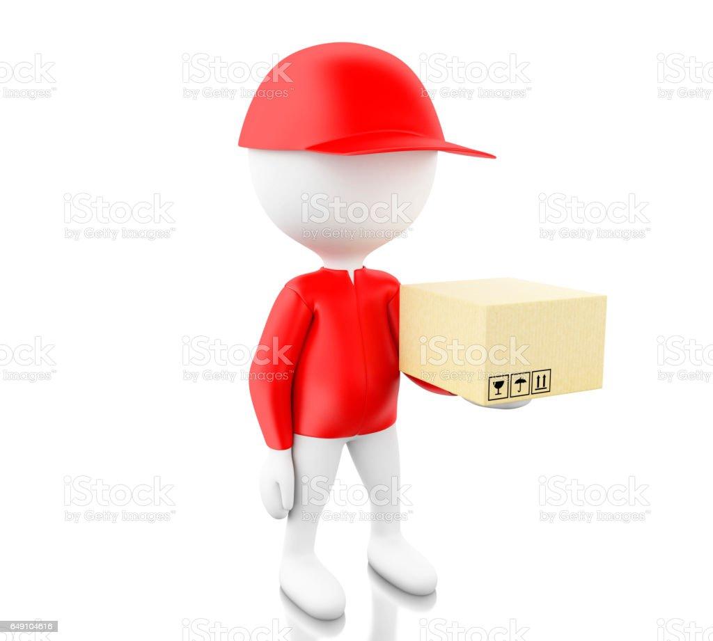 3d White people holding cardboard box vector art illustration