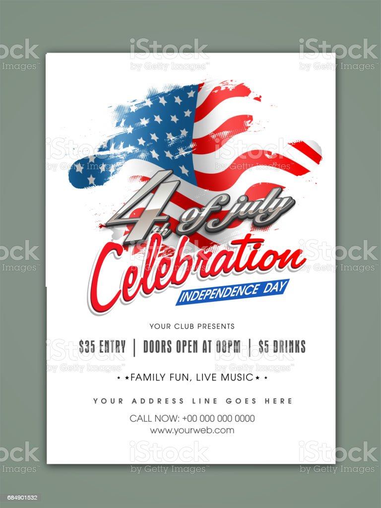 4th Of July Independence Day Celebration Template Banner Or Flyer ...