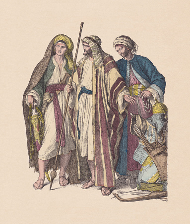 4th-6th century, Arab men, hand-colored wood engraving, published ca. 1880