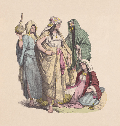 4th-6th century, Arab women, hand-colored wood engraving, published ca. 1880