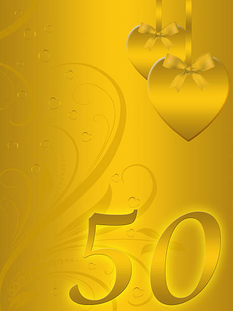 50th Anniversary card on golden background vector art illustration