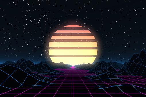 80s Retro Sci-Fi Futuristic Abstract Background