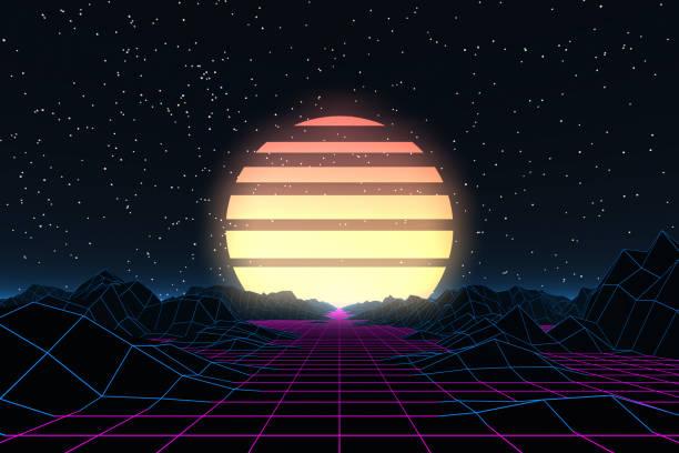 bildbanksillustrationer, clip art samt tecknat material och ikoner med 80-talet retro sci-fi futuristiska abstrakt bakgrund - pink sunrise