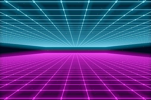 80s Retro Sci-Fi Futuristic Landscape Abstract Background