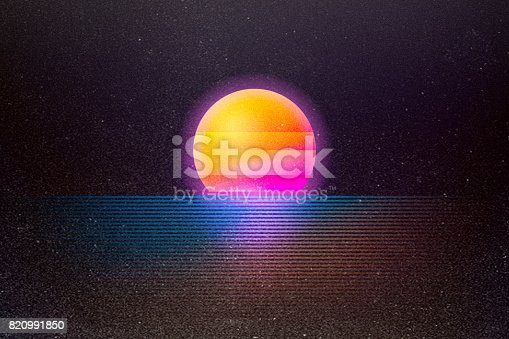A retro background with a setting sun over neon colored water.  Styled after imagery and design from the 1980's and early 90's.