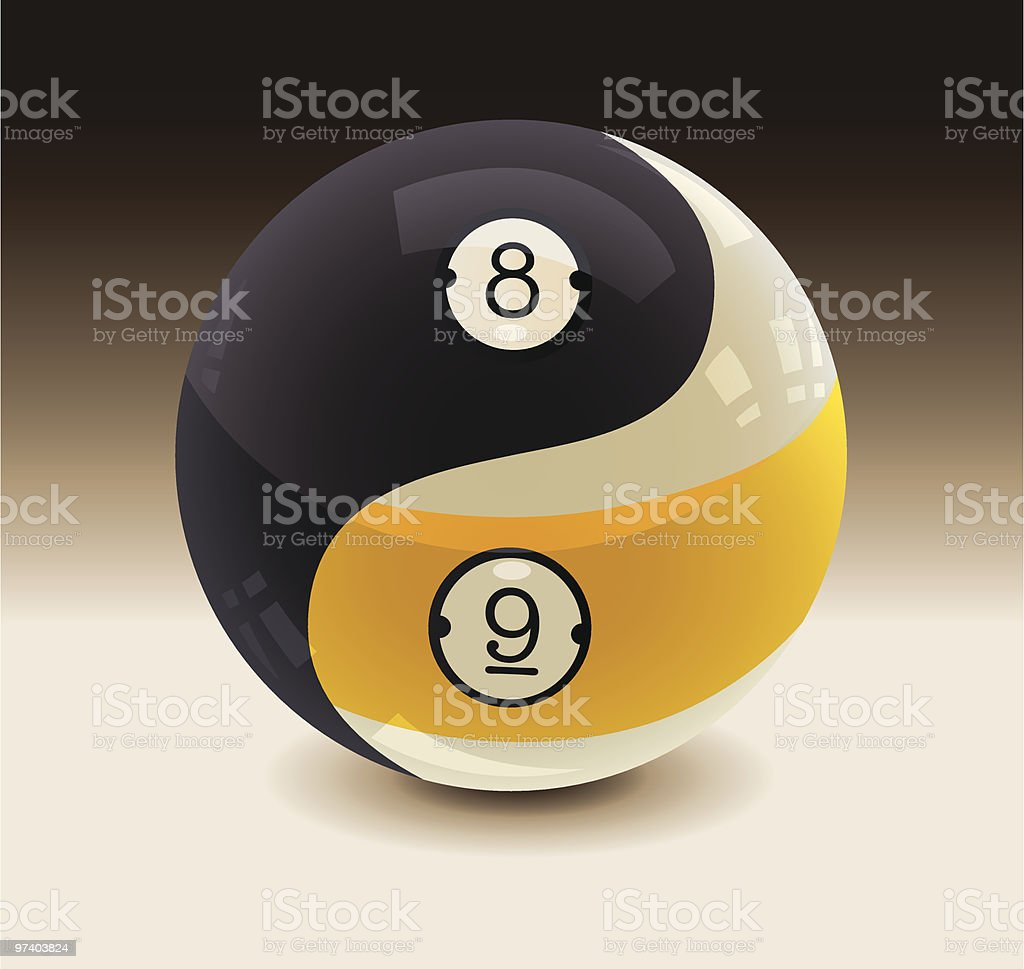 8-Ball and 9-Ball Yin Yang vector art illustration