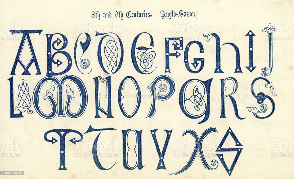 8th Century Anglo Saxon Alphabet vector art illustration
