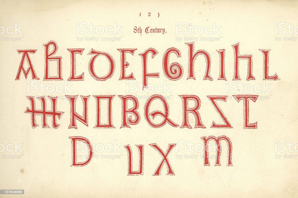 8th century Old English alphabet vector art illustration