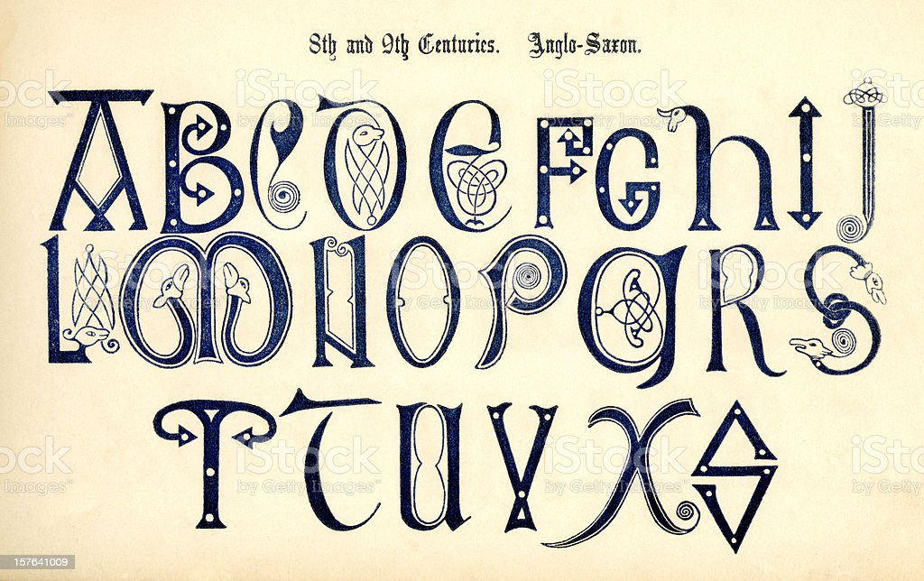 8th-9th century Anglo-Saxon lettering vector art illustration