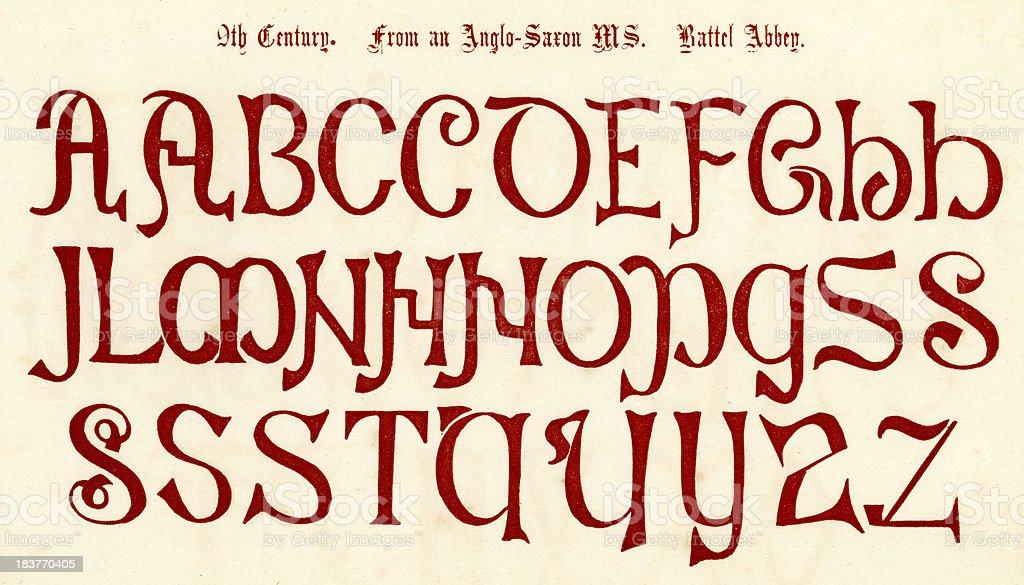 9th Century Anglo Saxon Alphabet vector art illustration
