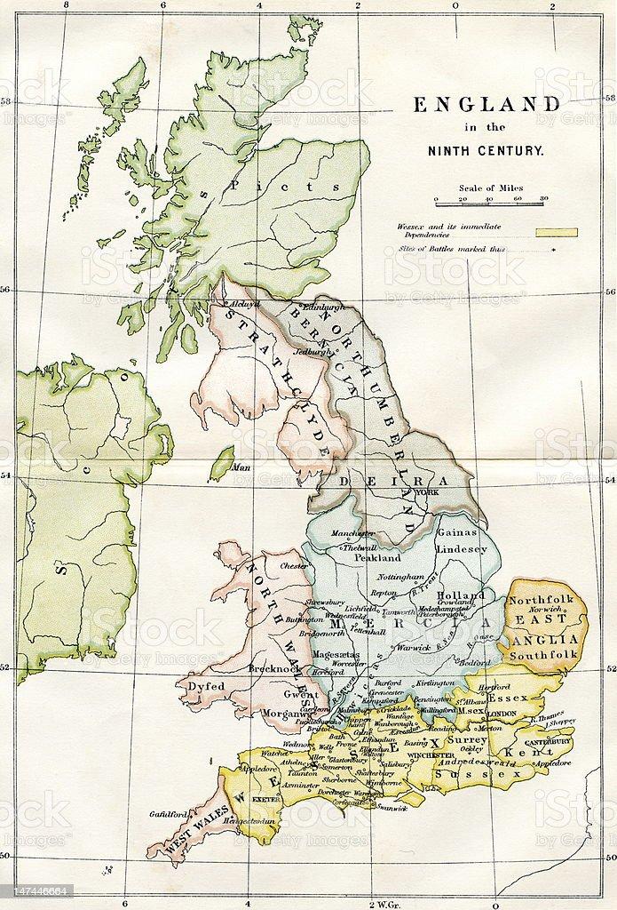 9th Century Map Of Great Britain vector art illustration