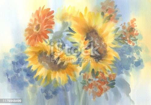 istock a bouquet of sunflowers on blue watercolor background 1179948499