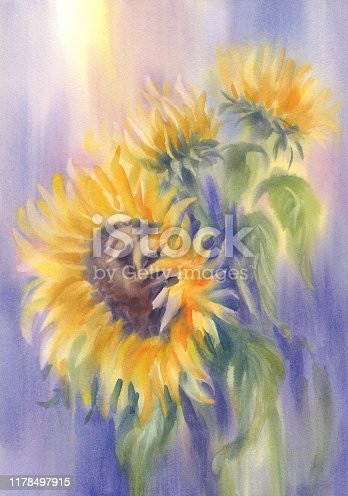 istock a bouquet of sunflowers on violet watercolor background 1178497915